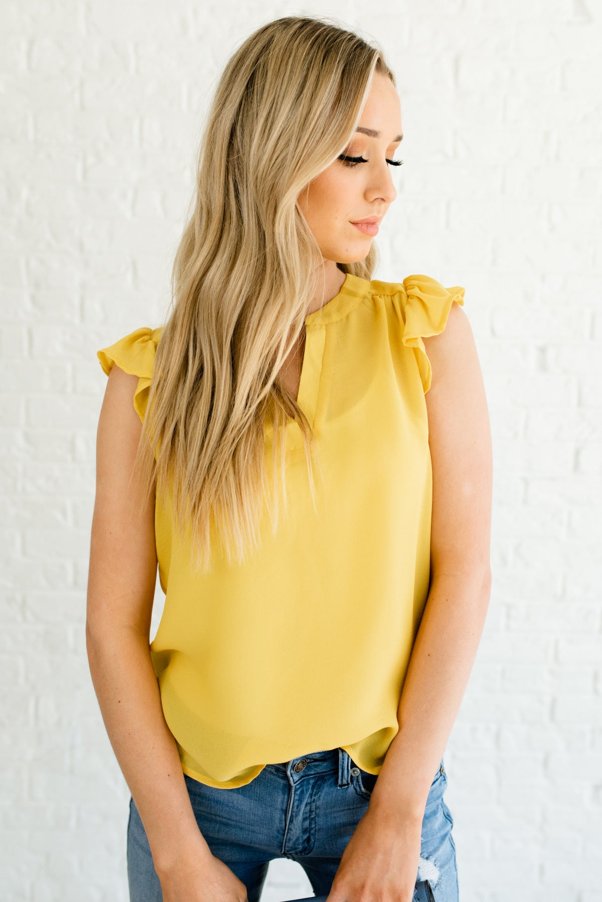 Yellow Ruffle Sleeve Lightweight Boutique Tops for Women