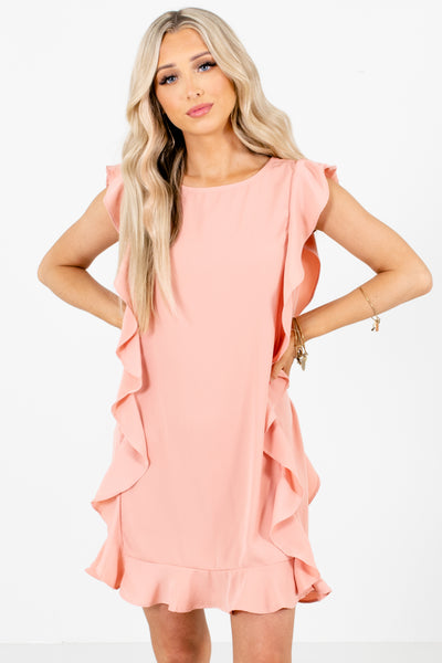Pink Ruffled Boutique Mini Dresses for Women