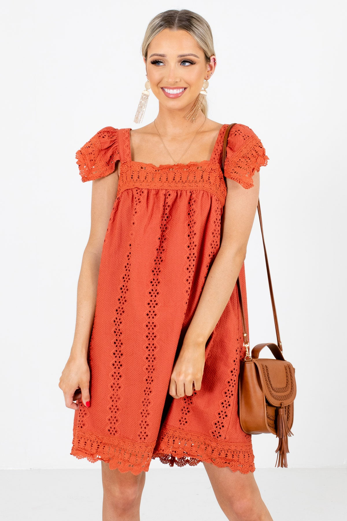 Rust Orange High-Quality Eyelet Material Boutique Mini Dresses for Women