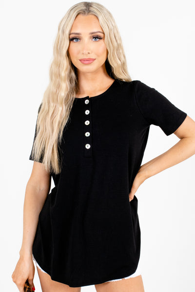 Black Casual Everyday Boutique Tops for Women
