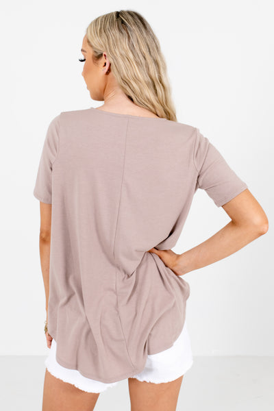 Women's Brown Round Neckline Boutique Blouse