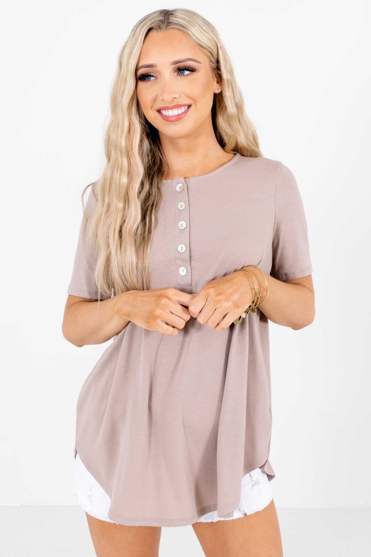 Brown Decorative Button Boutique  Blouses for Women