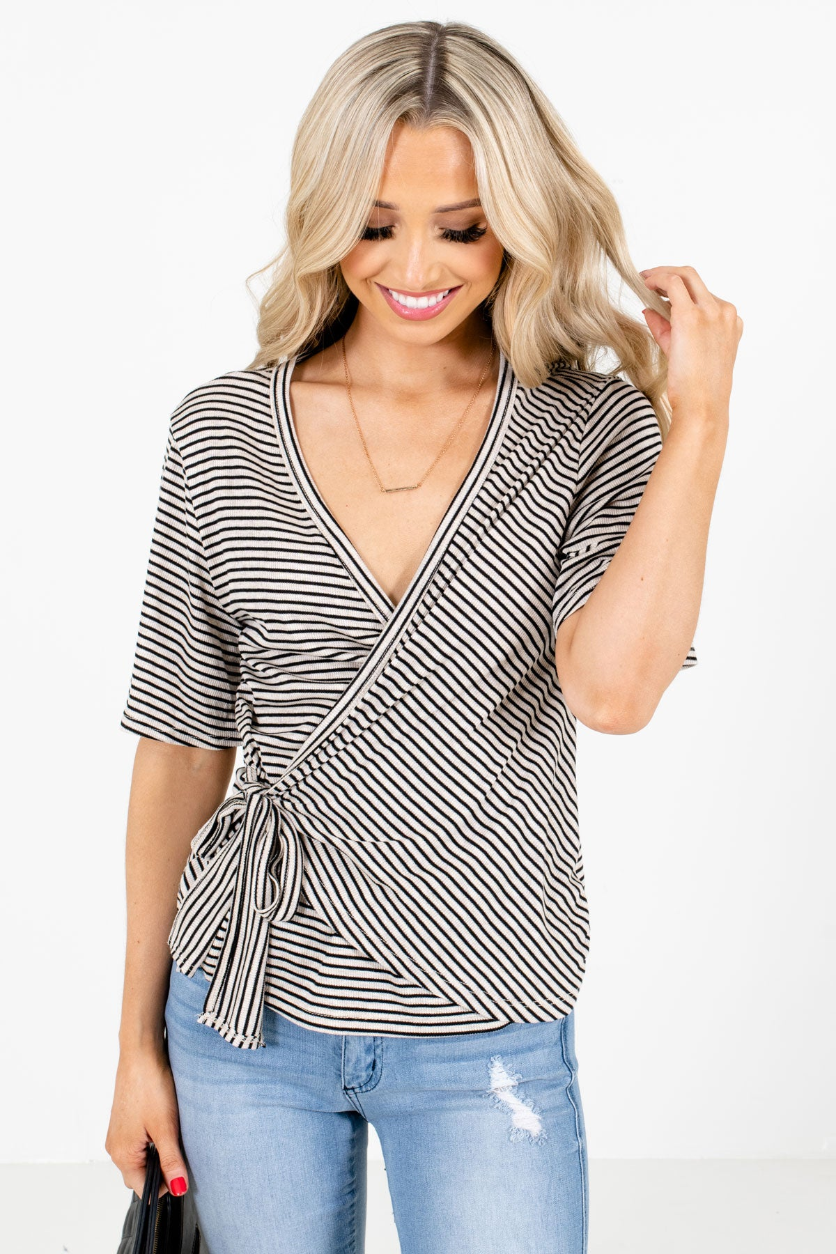 Beige and Black Striped Boutique Tops for Women