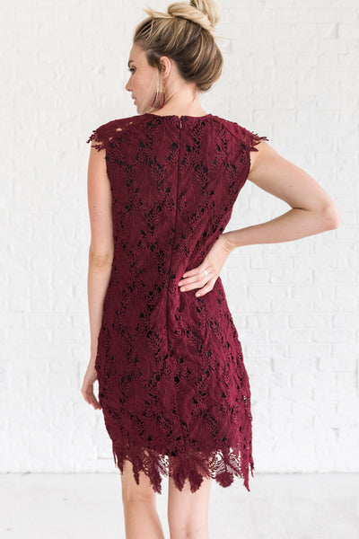 Burgundy Red Women's Winter Mini Dress for a Night Out