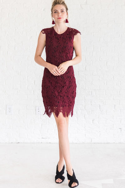 Burgundy Red Formal Women's Holiday Winter Party Dress