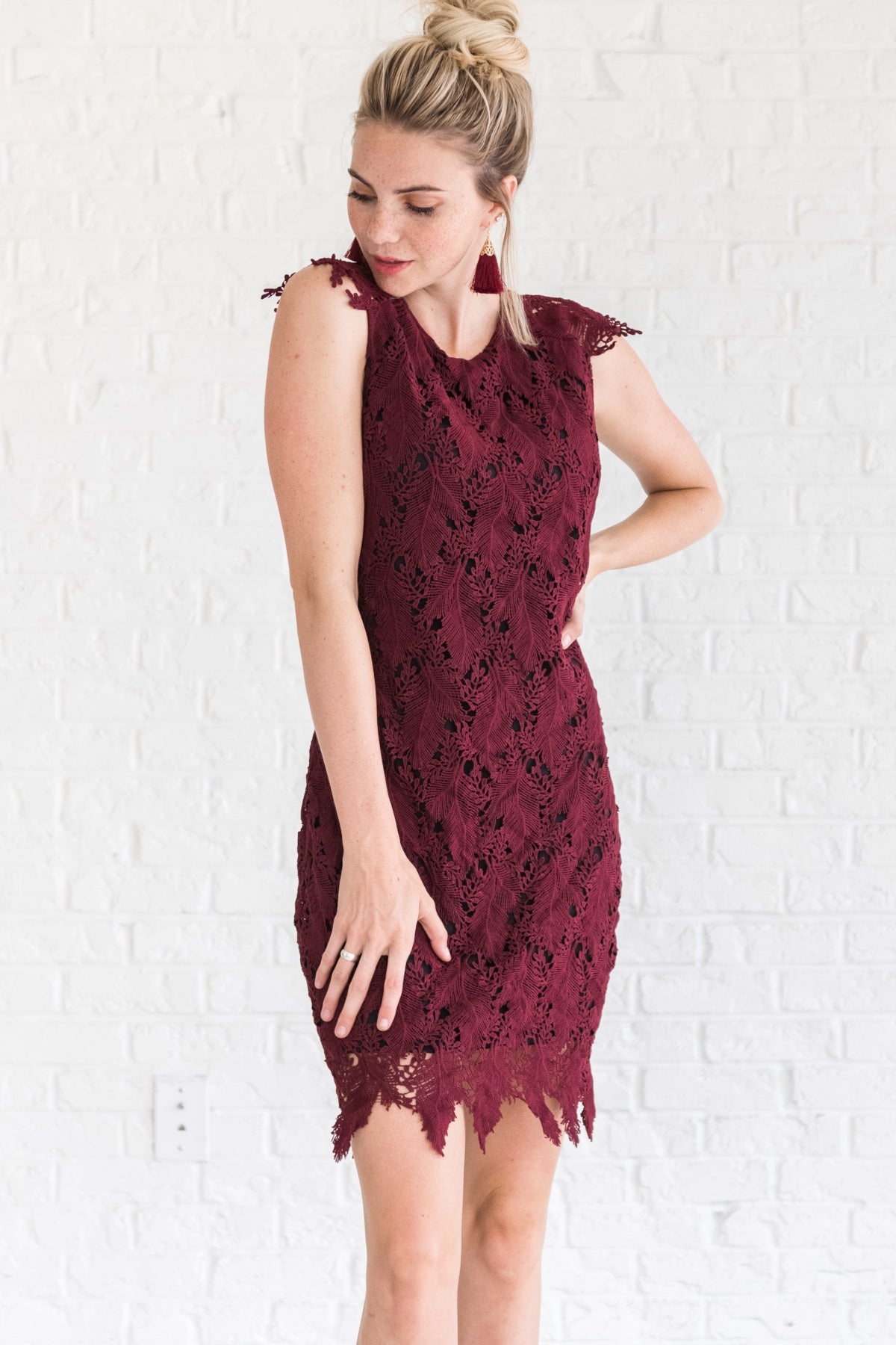 Burgundy Red Special Occasion Winter Dresses for Women