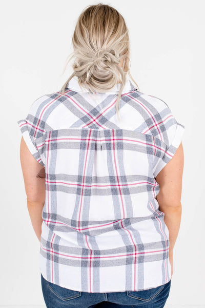 White Red Gray Blue Plaid Button-Up Plus Size Shirts