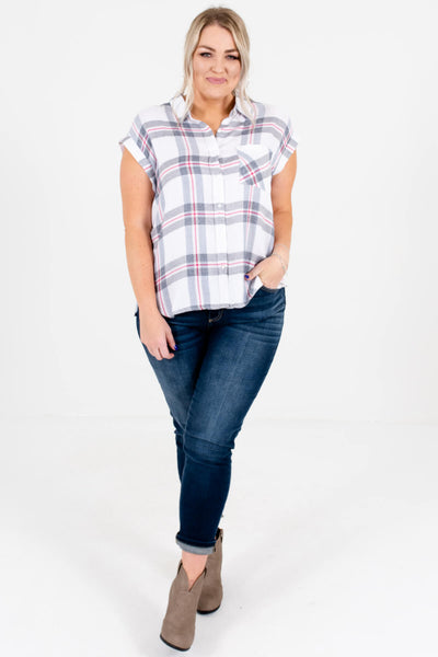 White Gray Red Blue Plaid Button-Up Shirts Plus Size Boutique