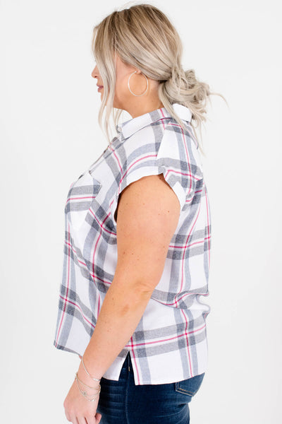 White Gray Red Plaid Button-Up Plus Size Shirts for Women
