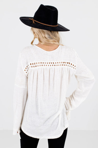 Women's Cream Embroidered Accented Boutique Tops