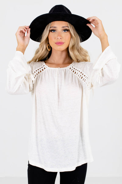 Cream Crochet Accented Boutique Tops for Women