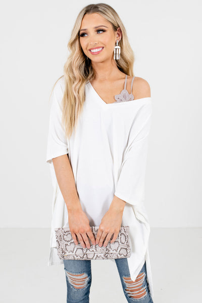White Relaxed Oversized Fit Boutique Tops for Women