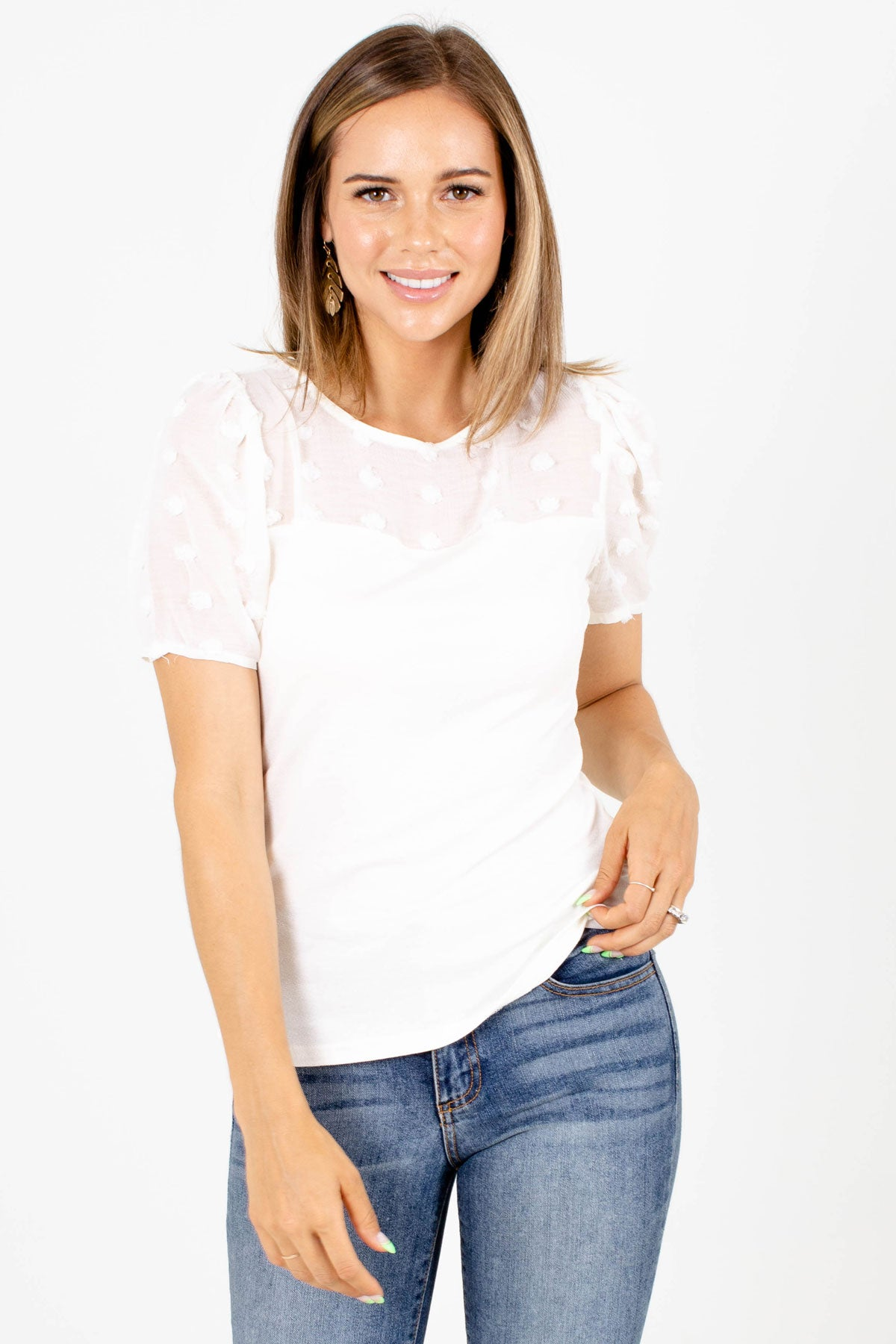 White Swiss Dot Material Boutique Blouses for Women
