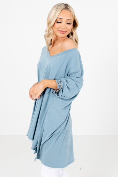 Women's Blue Oversized Fit Boutique Tops