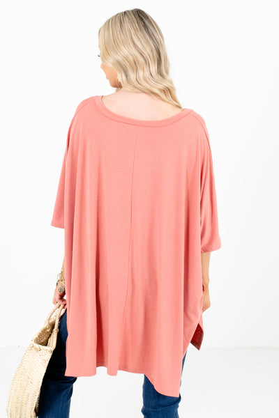 Women's Pink V-Neckline Boutique Tops