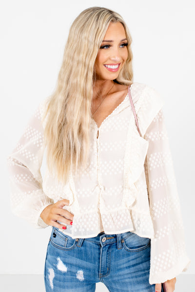Cream Ruffle Accented Boutique Blouses for Women