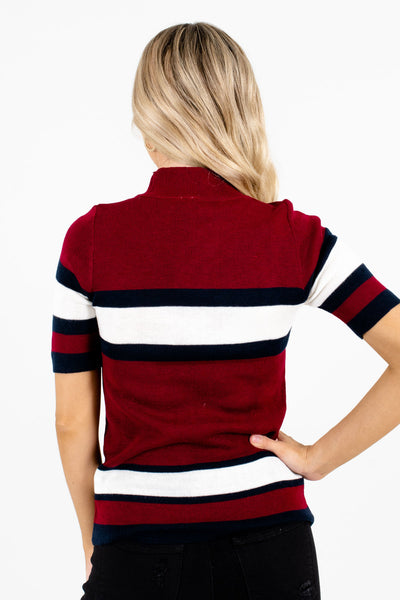 Women's Burgundy Mock Neck Style Boutique Tops