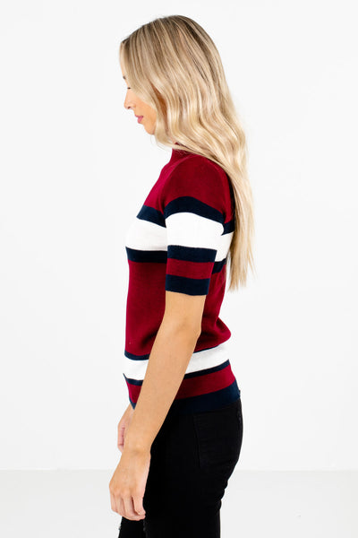 Burgundy High-Quality Knit Material Boutique Tops for Women