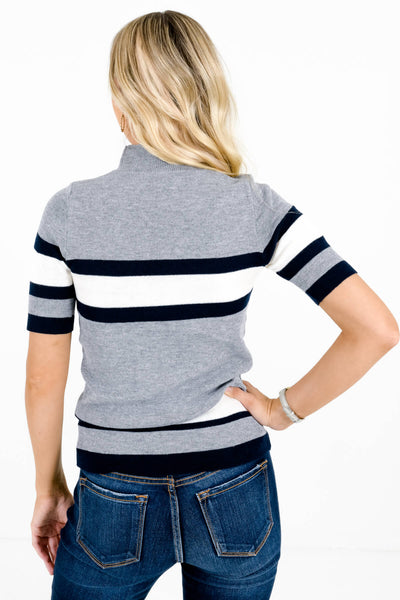 Women's Gray Mock Neck Style Boutique Tops