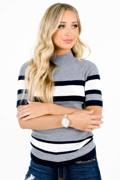 Gray Striped True-to-Size Fit Boutique Tops for Women