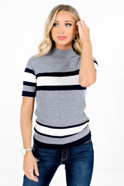 Women's Gray Warm and Cozy Boutique Tops