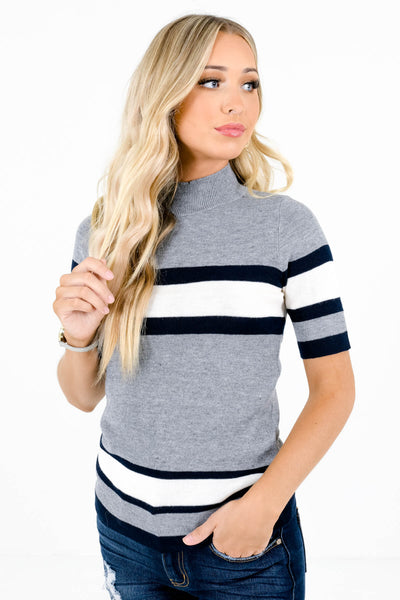 Women's Gray ½ Sleeve Boutique Tops