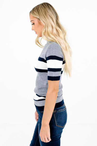 Gray High-Quality Knit Material Boutique Tops for Women