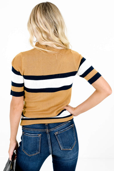 Women's Mustard Yellow Mock Neck Style Boutique Tops