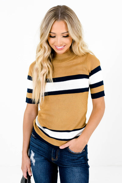 Mustard Yellow White and Navy Stripe Patterned Boutique Tops for Women