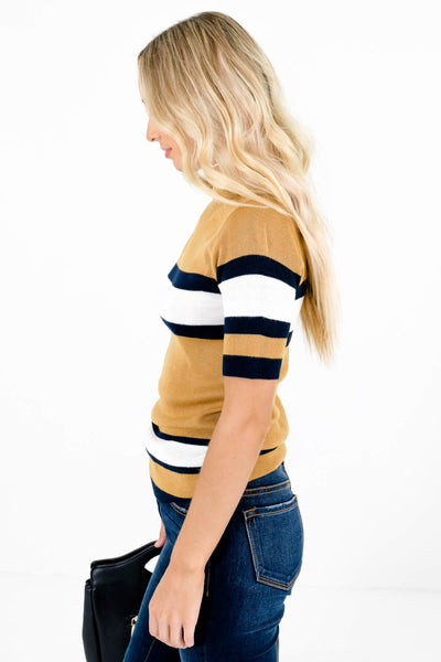 Mustard Yellow Striped True-to-Size Fit Boutique Tops for Women