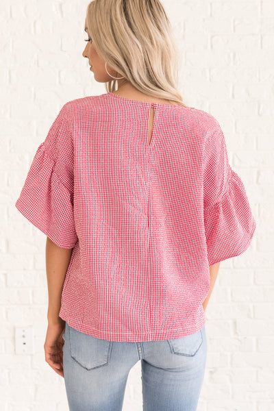 Red Plaid Gingham Ruffle Peasant Blouse Cute Tops