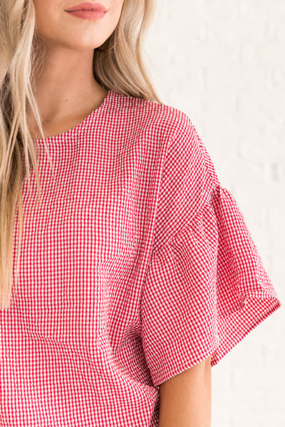 Red White Plaid Gingham Flowy Bell Ruffle Going Out Top