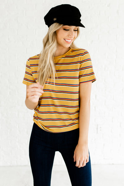 Soft and Stretchy Mustard Yellow Women's Boutique Tops