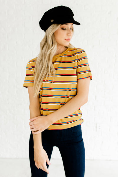 Mustard Yellow Cute Lightweight Boutique Tops for Women