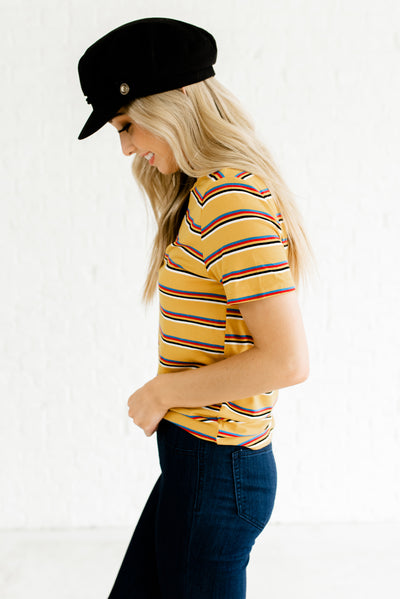 Mustard Yellow Striped Vintage Inspired Women's Boutique Clothing