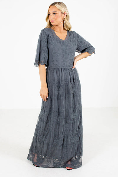 Gray Lace Overlay Boutique Maxi Dresses for Women
