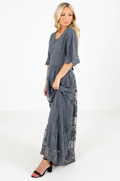 Gray Scalloped Short Sleeve Boutique Maxi Dresses for Women