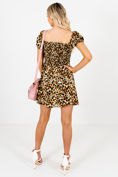 Gold Leopard Print Smocked Off Shoulder Puff Sleeve Satin Mini Dresses