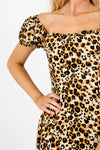 Gold Beige Brown Leopard Print Satin Mini Dresses for Women