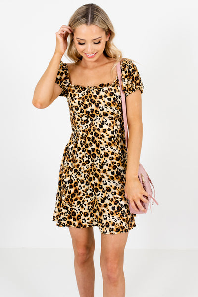 Gold Leopard Print Puff Sleeve Satin Mini Dresses Boutique