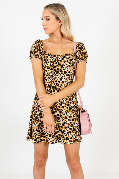 Gold Brown Leopard Print Satin Mini Dresses Affordable Online Boutique