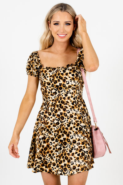 Gold Beige Brown Black Animal Leopard Print Satin Mini Dresses