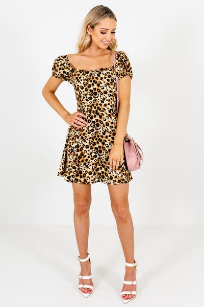 Leopard Print Satin Puff Sleeve Off Shoulder Mini Dresses