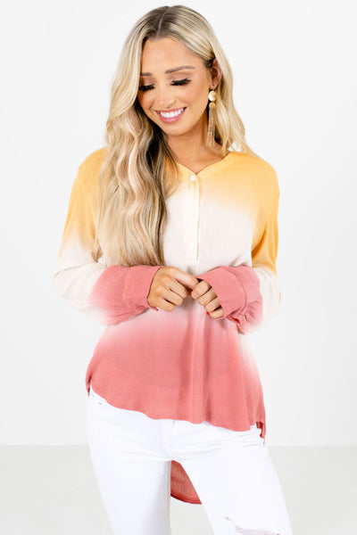 Women's Orange Long Sleeve Boutique Shirt
