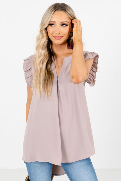 Brown Split V-Neckline Boutique Blouses for Women