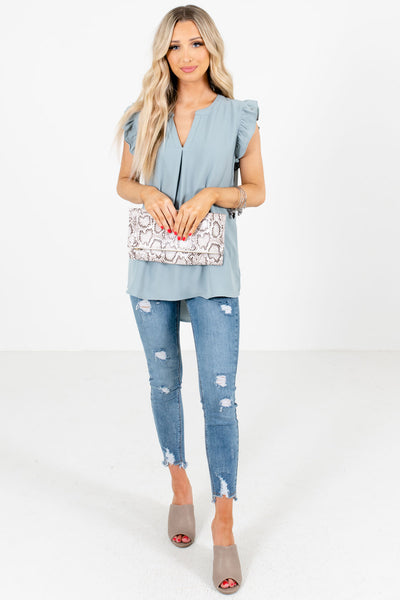Blue Business Casual Boutique Blouses for Women