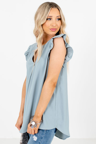Women's Blue High-Low Hem Boutique Blouses