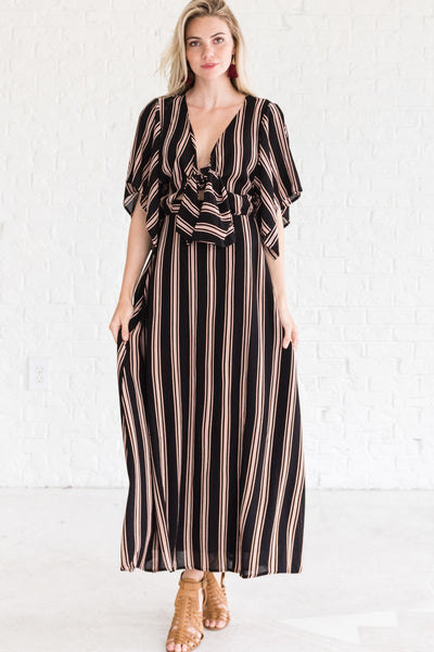 Black Striped Maxi Dresses