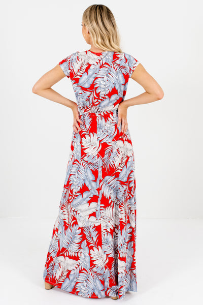 Women's Red Patterned Self-Tie Front Boutique Maxi Dress