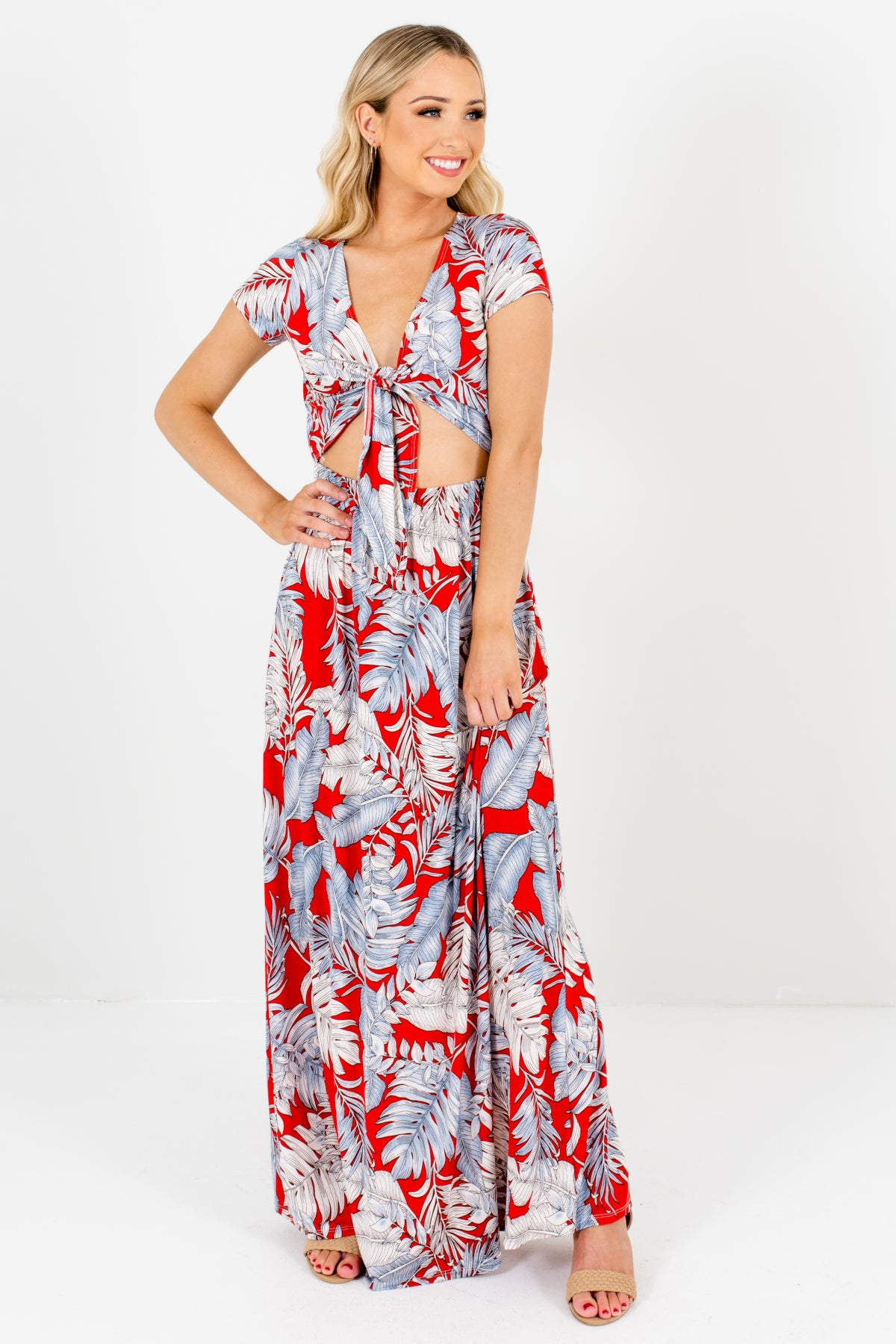 Red White and Light Blue Tropical Patterned Boutique Maxi Dresses for Women